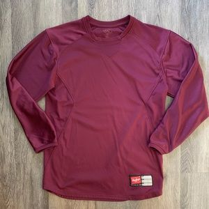 RAWLINGS Burgundy All Poly Baseball Jersey